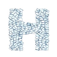 H lettera diamanti cristalli gemme 3d, sfondo bianco