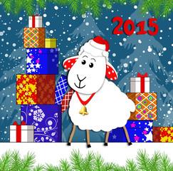 Новогодняя овечка 2015г.и подарки .Векторная иллюстрация.