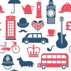 Graphic set of great britain symbols seamless pattern