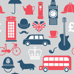 Graphic set of great britain symbols seamless pattern