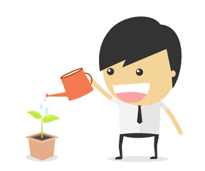 watering tree cartoon concept. vector illustration