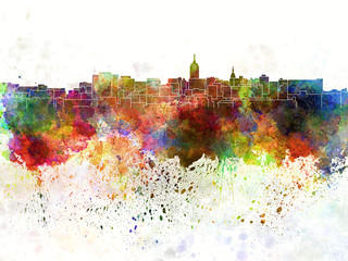 Lansing skyline in watercolor background