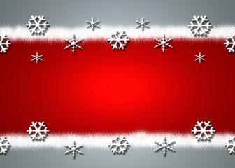 Fondo rojo, copos de nieve