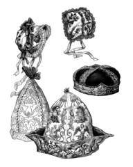Various ancient Hats - Bonnets & Chapeaux anciens