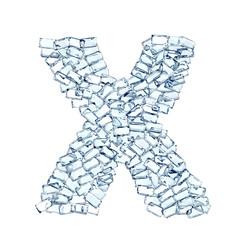 X lettera diamanti cristalli gemme 3d, sfondo bianco