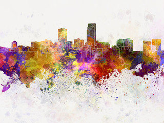 Omaha skyline in watercolor background