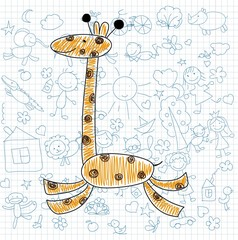 Детские рисунки каракули жирафа