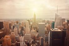 Нью-Йорк горизонты с ретро-эффекта фильтра