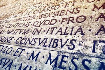 Latin inscription in Rome, Italy