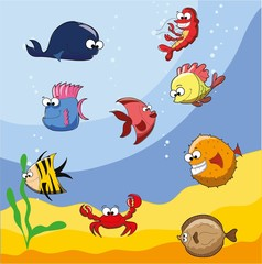 Мультфильм мило морские рыбы