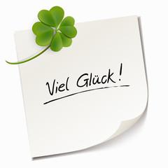 Haftnotiz mit Kleblatt - Viel Glück!