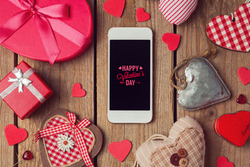 Smartphone mock up for Valentine's day with heart shapes
