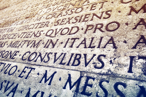 Latin inscription in Rome, Italy - 74640910