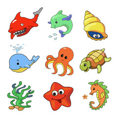 illustration of Sea Animals Collection