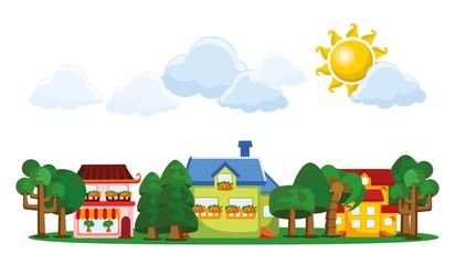 Мультфильм фон с милыми домами