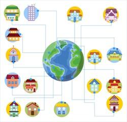 Вектор иконки дом на земле