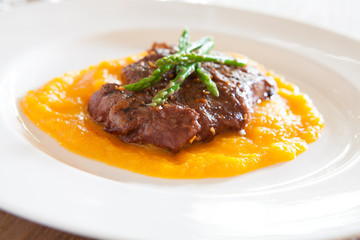 Steak with Butternut Squash Puree