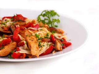 Fried chicken fillet, mushrooms and vegetables