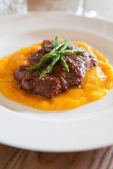 Steak wirth Butternut Squash Puree