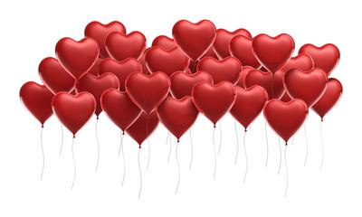 Rote Luftballonherzen