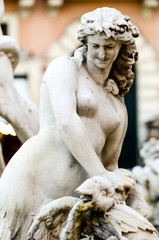 Piazza Navona , Detail of the Neptune Fountain,  in Rome Italy
