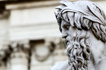 Detail of Zeus in Piazza Navona fountain, Rome Italy
