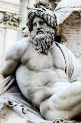 Zeus in a fountain of Piazza Navona, Rome Italy