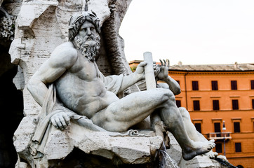 Zeus Statue in in Bernini's Fountain , Piazza Navona, Rome Italy