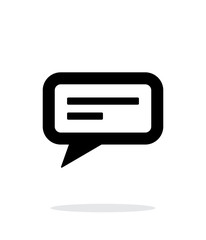 Text bubble icon on white background.