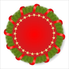 Round fir garland decorated with red ribbon