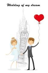 Свадебный фон, жених и невеста