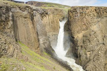 Litlanesfoss waterfall and basaltic rocks, Iceland
