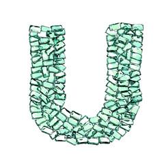 U lettera smeraldo verde gemme 3d, sfondo bianco