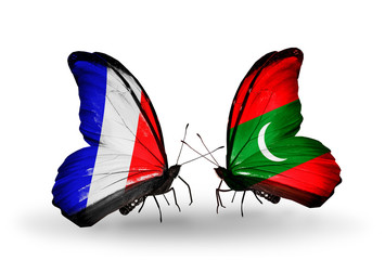 Two butterflies with flags France and Maldives