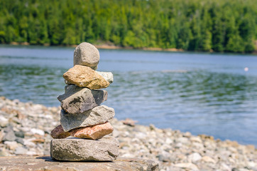 Pile of Balanced Stones on a Beach