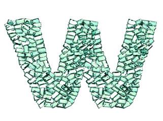 W lettera smeraldo verde gemme 3d, sfondo bianco