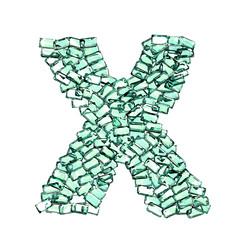 X lettera smeraldo verde gemme 3d, sfondo bianco