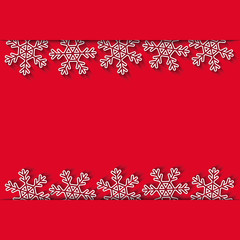 Snowflakes on the cut red paper, Xmas and New Year background