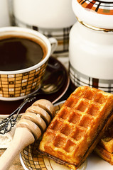 Belgian waffles with coffee and honey