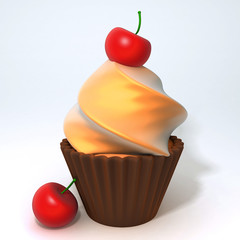 Cherry cupcake 3d illustration