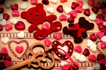 Saint Valentine's Day Decoration, bear, heart, key, candy