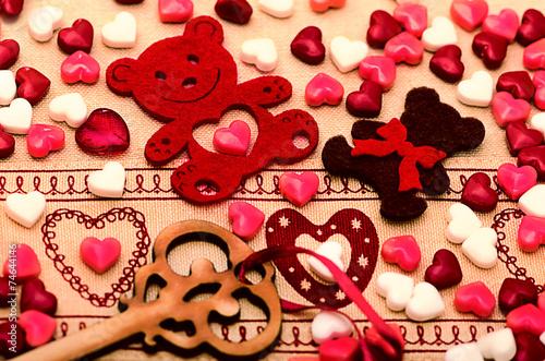 Papiers peints Confiserie Saint Valentine's Day Decoration, bear, heart, key, candy