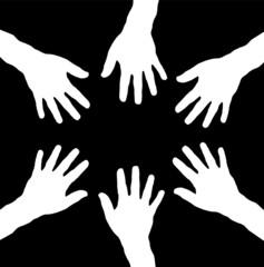 reaching hands as teamwork
