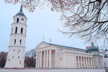 VILNIUS,LITHUANIA, November 17, 2014: The Cathedral Square in Vi