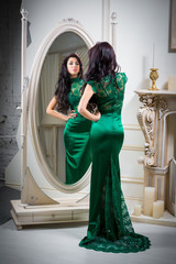 \woman in green evening dress