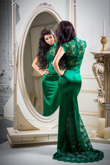 \woman in green evening dress