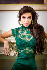 woman in green evening dress