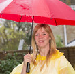 Woman holding her umbrella during a shower of rain