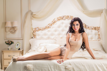 Beautiful and sexy woman  in bed