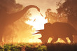 Mysterious Magical Prehistoric Fantasy Scene Sunset Sunrise 3D